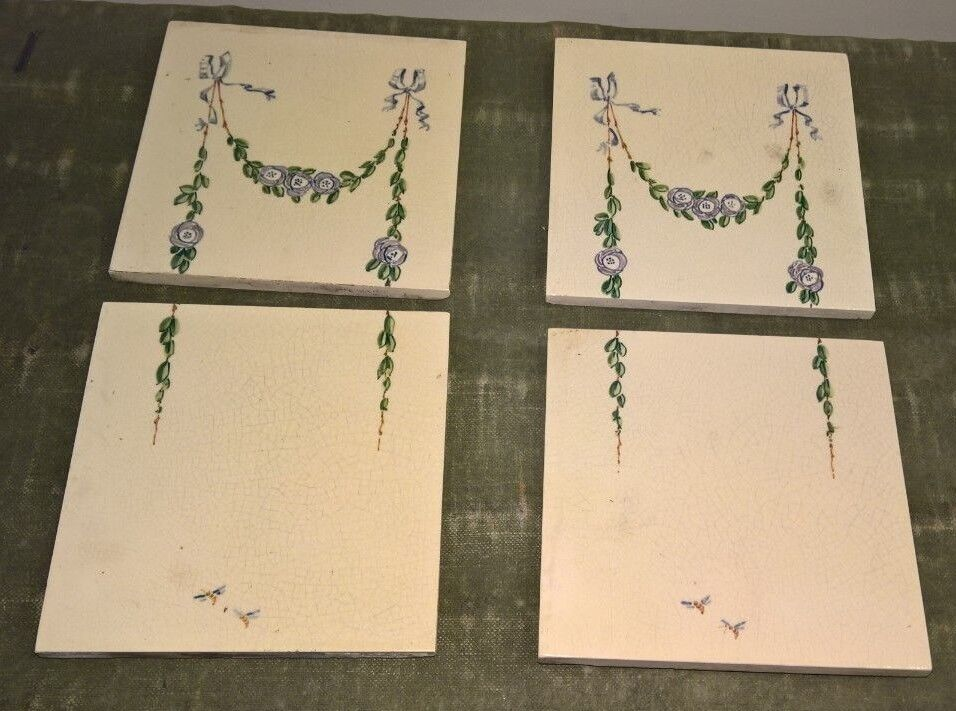 """White Vintage tiles - 2 sets of 2x  6""""x6  tiles with greenical pattern"""