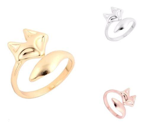 Plata Oro Rosa Ajustable UK Fox Head /& Tail Anillo de Dedo en bolsa de regalo gratis//caja