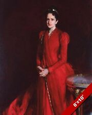 WOMAN IN LONG RED FLOWING DRESS GOWN OIL PAINTING ART PRINT ON REAL CANVAS