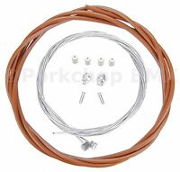 Bicycle 5mm LINED brake cable housing and hardware kit BMX MTB - SADDLE BROWN