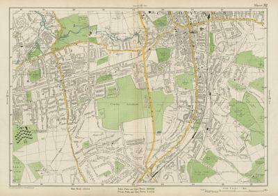 Art Prints Honey South Croydon Carshalton Wallington Waddon Beddington Purley Europe Maps Bacon 1934 Map