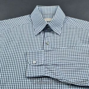 ERMENEGILDO-ZEGNA-Blue-Check-100-Cotton-Mens-Casual-Dress-Shirt-MEDIUM