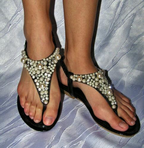 Damen Sandalen Sandaletten Glitzer Nieten Riemchen Perlen Pumps Zehentrenner 125