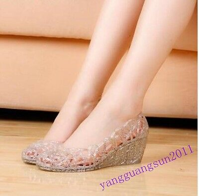 Jelly Womens Shoes Wedge Ventilate Crystal Slip On Sandals Chic Sweet Casual New