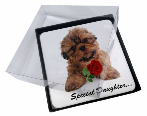 4x Shih Tzu Dog 'Special Daughter' Picture Table Coasters Set in Gift , SDSZ4RC