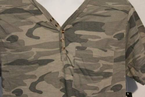 NEW Mens Henley Shirt Size Large Camouflage Top Camo T Shirt Tee Pocket Casual