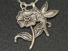 "Hummingbird & Lotus Flowers Charm Tibetan Silver with 18"" Necklace BIN"