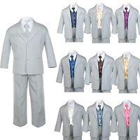 7pc Satin Vest Neck Tie + Boy Baby Toddler Kid Teen Gray Formal Suit Tuxedo S-20