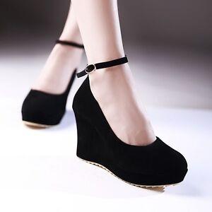 5b04fb130ae7 New Fashion Women Round Toe Platform High Heel Ankle Strap Wedge ...
