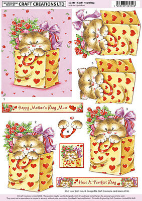 CRAFT CREATION DECOUPAGE NON DIE CUT CAT IN HEART BAG FOR CARDS /& CRAFT