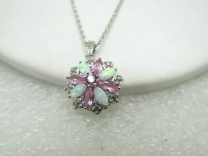 b96631d1c4a85 Details about Sterling Silver Opal Pink Topaz Necklace, Kohl's, 18
