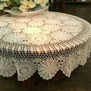 Details About Round Handmade Crochet Lace Tablecloth Beige Vintage Cotton  Table Cover 60inch