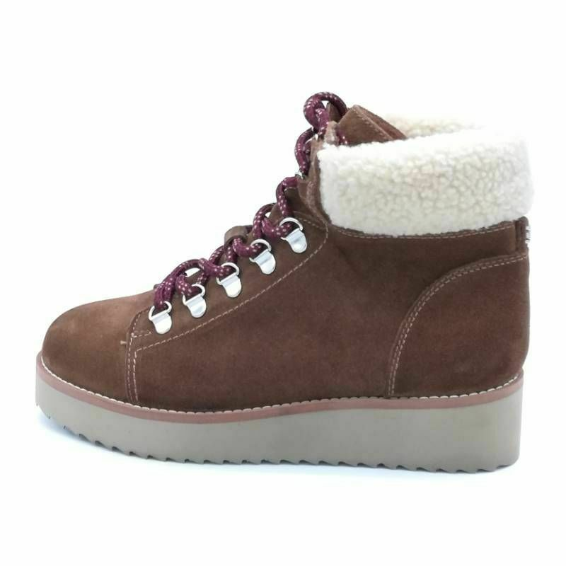 Sam Edelman Womens Wedge Heel Ankle Boots Brown Leather Sherpa Trim 6.5 M New