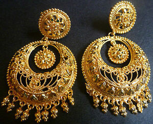 Image Is Loading South Indian 22k Gold Plated Chand Bali Jhumka