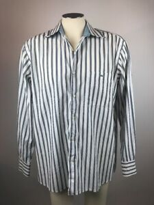 MENS-Size-44-Lacoste-Button-Dress-Shirt-Flip-Cuff-Multicolor-Blue-Striped