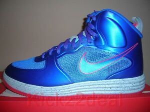 NEW NIKE LUNAR FORCE 1 FUSE HIGH SZ 9 ~ 12 Game Royal Blue/Siren Red 580616-400