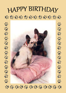 French bulldog dog birthday greetings note card ebay image is loading french bulldog dog birthday greetings note card m4hsunfo