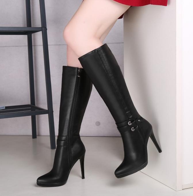 Ladies Sexy Side Zip Black Stilettos High Heels Knee high Boots Warm Knight shoes