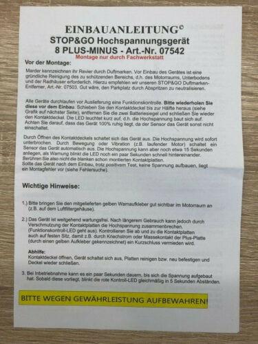 STOP/&GO 07542 Marderschutz 8 PLUS-MINUS SKT Hochspannungsgerät mit Ultraschall