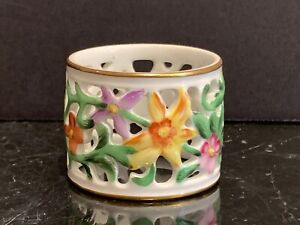Herend-Porcelain-Floral-Reticulated-Napkin-Ring