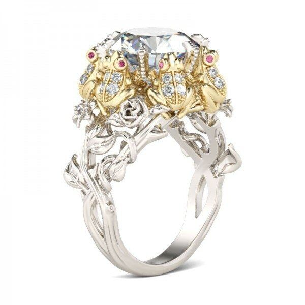 Women 925 Silver Frog Prince Crown White Topaz Wedding Engagement Ring Size 6-10