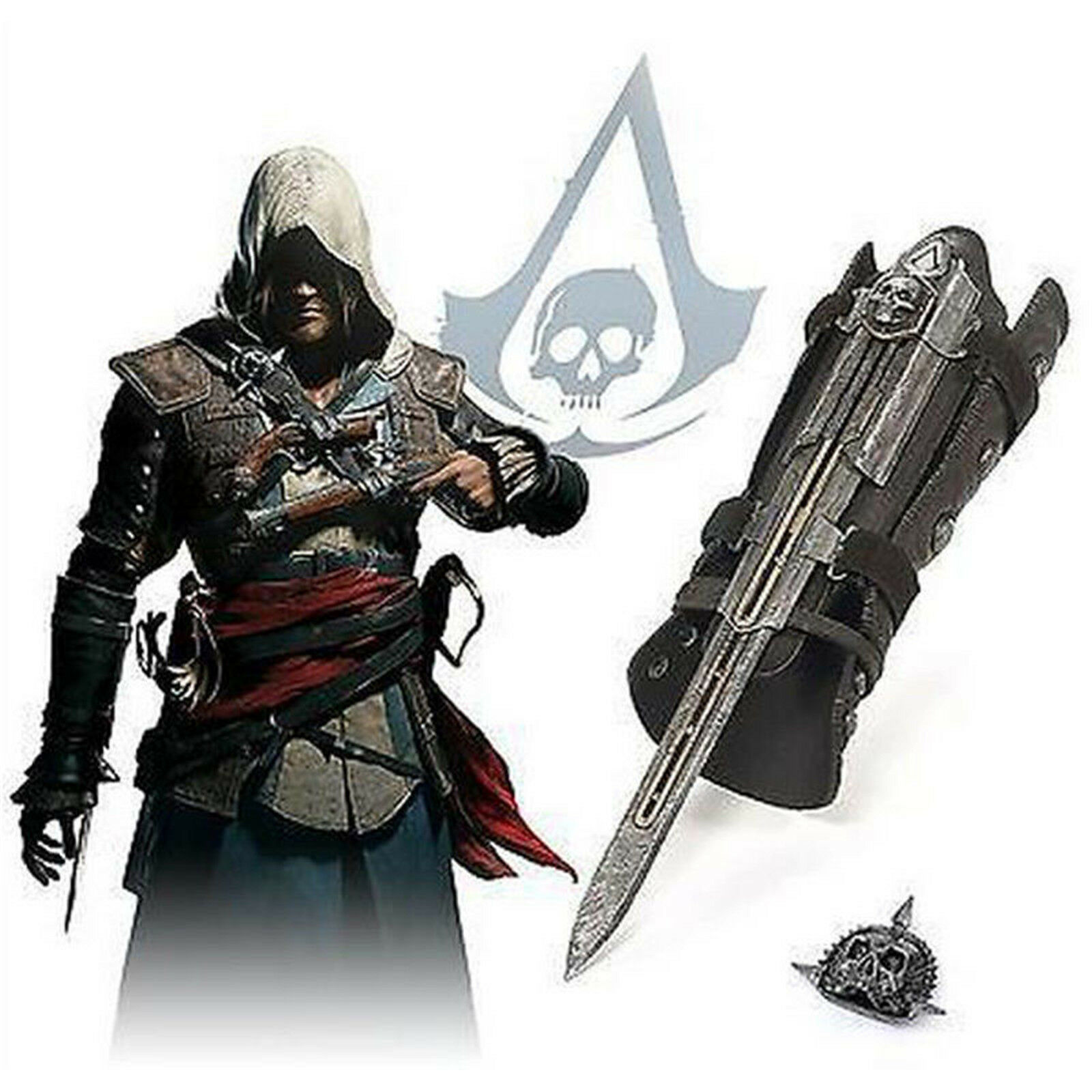 Details about Assassin s Creed 4 Flag Pirate Costume Hidden Blade Edward  Kenway Gauntlet Movie 7e862bff1661