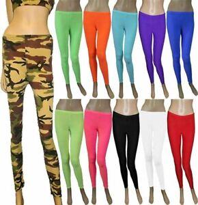 Girls Microfiber Plain Leggings Disco Pants Children Summer Wear Sports Leggings