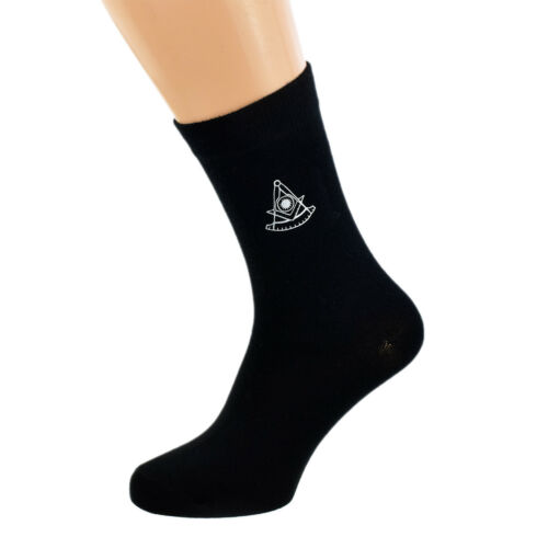 Masonic Past Master Mens Black Socks UK 5-12 X6N854