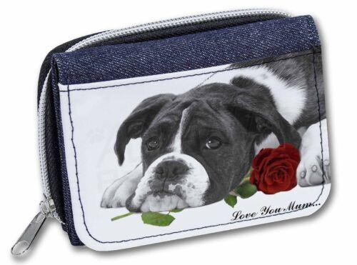 AD-B41R2lymJW Boxer Dog /'Love You Mum/' Girls//Ladies Denim Purse Wallet Ch B+W