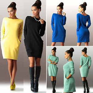 Damen-Herbst-Minikleid-Etuikleider-Freizeit-Pullover-Sweatshirt-Kleid-Partykleid