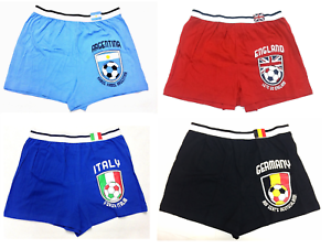 World International Soccer Collection Men Team Loose Cotton Boxer Shorts Red Spa