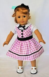 Doll-Clothes-18-034-Doll-Dress-Pink-White-Fits-American-Girl-Doll-Mary-Ellen-1954
