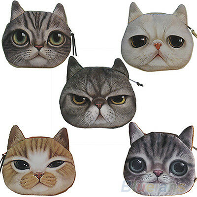 Children Cute Cat Face Zipper Case Coin Kids Purse Wallet Makeup Bag Pouch BHCU