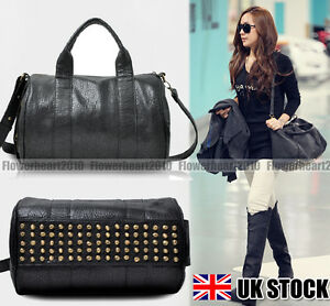 Celebrity-Stud-Studded-Bottom-Black-Duffel-Tote-Bag