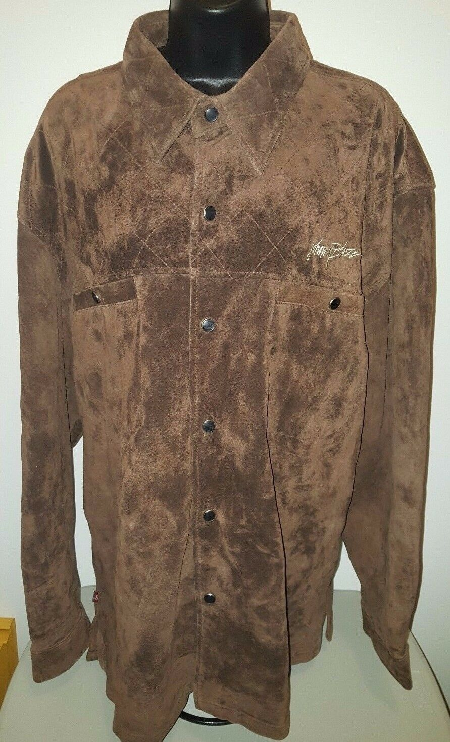 Johnny Blaze Mens braun Suede Snap Front Partial Lined Jacket Coat Größe XXL