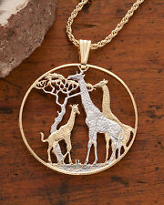 Giraffe Pendant and Necklace, Zambia1 1/2 Coin Hand Cut,1 1/2 in Dia., ( # 894 )