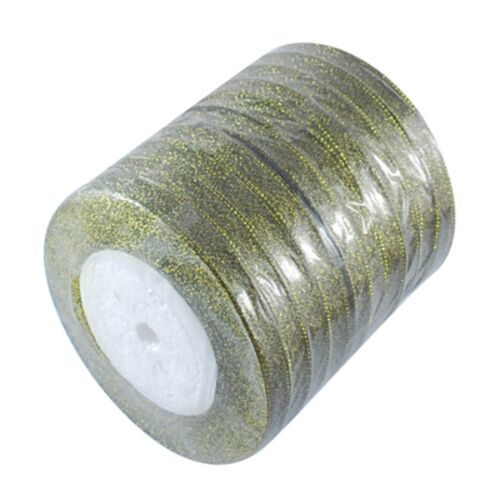 0,15€//m 22,8 m Glitterband 6mm Satinband Sparkle Ribbon Glitzer Metalleffektband