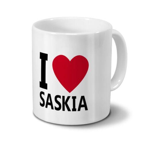 """Motiv /""""I Love Saskia/"""" Tasse mit Namen Saskia"""