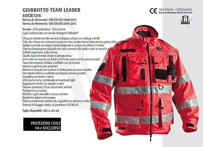 Giubbotto Rosso protezione civile 118 e soccorso cuciture con nastro Reflexite