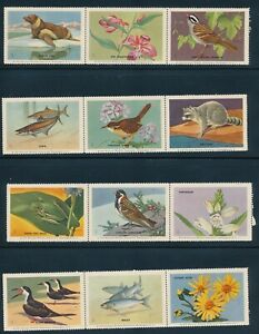 Stamp US Labels Birds Fish Flowers Seal Frog Lilac MNH