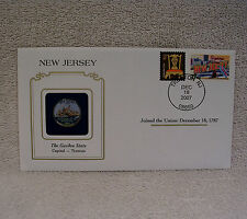 New Jersey Colorized State Quarter Cover w/ Greetings From America Stamp Painted