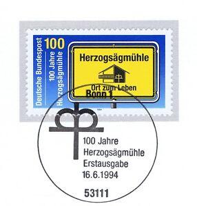 Rfa 1994: Herzogsägmühle Nº 1740 Avec Propre Bonner Ersttags Cachet! 1 A! 1708-l! 1a! 1708fr-fr Afficher Le Titre D'origine