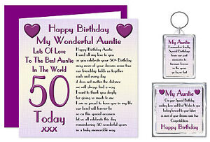 50th Auntie Happy Birthday Gift Set Card Keyring Magnet Lots