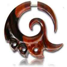 """PAIR SONO WOOD FAKE CHEATER GAUGES PLUGS CARVED SPIRALS TRIBAL 1"""" 1/4 INCH LONG"""