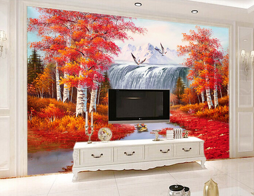 3D rot Forest Flying Birds Paper Wall Print Wall Decal Wall Deco Indoor Murals