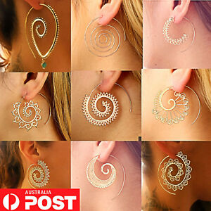 9-Styles-Gold-Silv-Boho-Infinity-Spiral-Gypsy-Tribal-Ethnic-Hoop-Dangle-Earrings