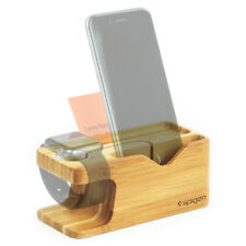 Apple Watch and iPhone Stand Bamboo Spigen® Charging Dock Station [S370]