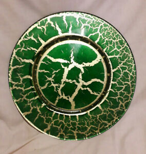 Italian-Art-Glass-Platter-Green-and-Gold-32cm-under-painted-crackle