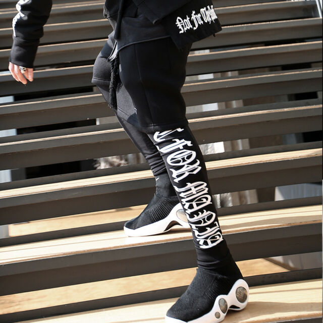 ByTheR Men/'s Flexi Comfort Premium Span Unisex Sporty Black Lettering Leggings