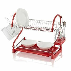 Image is loading New-2-Tier-Red-S-Shape-Dish-Drainer-  sc 1 st  eBay & New 2 Tier Red S Shape Dish Drainer Deluxe Chrome Plate Rack Tray ...